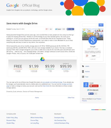 Googleドライブが月額利用料を大幅に値下げ